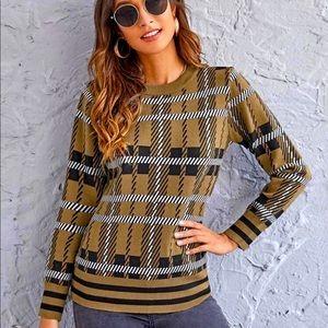 NWT NEW PICS! SLIMMING Striped & Plaid Sweater
